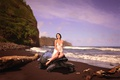 Picture turtle, surf, girl, shore