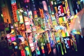 Picture light, the city, lights, people, Japan, Tokyo, umbrellas