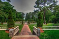 Picture lawn, greens, USA, Norfolk Botanical Garden, Virginia, the bushes, trees, the parapet, the sidewalk, Park, ...