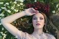 Picture girl, Tia Clifton, makeup, flowers