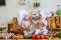 Picture strawberry, kitchen, cook, small, basket, infant, child, kitchen, children, vegetables, boys, table, vegetables