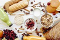Picture juice, muesli with fresh berries, yogurt, bread, star anise, berries, Breakfast, cinnamon