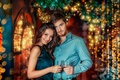 Picture branches, glasses, girl, new year, bokeh, pair, Christmas, tree, guy, holiday, decoration, lovers