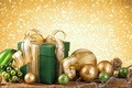 Picture New Year, Christmas, golden, christmas, balls, merry christmas, gift, decoration, xmas