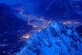Picture winter, mountains, lights, Germany, valley, Bayern, Garmisch-Partenkirchen