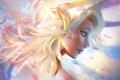Picture the sky, girl, art, Mercy, by Seiorai, Оverwatch