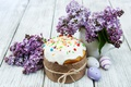 Picture decoration, lilac, Easter, Easter, glaze, Happy, eggs, cakes, cake, the painted eggs, cake, spring, flowers, ...