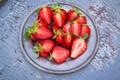 Picture strawberry, berry, plate, ripe