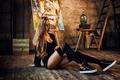 Picture stockings, hairstyle, blonde, jacket, sitting, on the floor, sneakers, in black, Valya, Evgeny Freyer