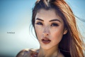 Picture the sky, look, the sun, face, background, portrait, makeup, hairstyle, brown hair, Linda, bokeh, closeup, ...
