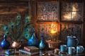 Picture blue, books, lamp, coffee, feathers, window, frost, dishes, still life