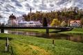 Picture clouds, grass, landscape, river, Emperor chair, Kaiserstuhl, trees, home, Switzerland, bridge, Switzerland