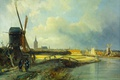 Picture Cornelis Springer, The view of the Hague, oil, windmill, picture, canvas