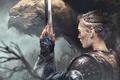 Picture fantasy, armor, weapon, Warrior, sword, braid, girl, fantasy art, painting, artwork, dragon, Thomas Chamberlain - ...