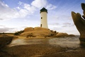 Picture sea, the sky, clouds, stones, coast, lighthouse, Italy, Sardinia