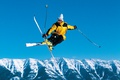 Picture landscape, freestyle, stick, the sky, hat, ski, snow, Sunny, forest, skiing, glasses, jump, skier, athlete, ...