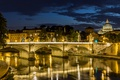 Picture river, The Tiber, Rome, night, Italy, bridge, lights