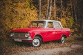 Picture autumn, red, nature, retro, car, Muscovite