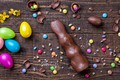Picture chocolate, eggs, colorful, rabbit, candy, Easter, wood, Verba, chocolate, spring, Easter, eggs, bunny, candy, decoration, ...