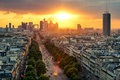 Picture road, the sky, the sun, clouds, trees, dawn, transport, France, Paris, home, the view from ...