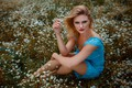 Picture flowers, pose, Carla Sonre, Damian Feather, chamomile, meadow, dress