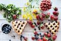 Picture flowers, strawberries, cakes, sweet, blueberries, berries, pie, strawberry
