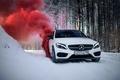 Picture winter, car, machine, auto, city, fog, race, tale, car, red, mercedes, sports car, car, need ...