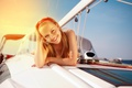 Picture girl, yacht, mood, smile