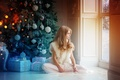 Picture new year, box, Christmas, tree, winter, window, holiday, gifts, room, girl