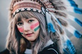Picture face, East, headdress, girl, paint, feathers, look