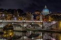 Picture river, the dome, The Tiber, St. Peter's Cathedral, Rome, night, lights, Italy, bridge