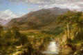 Picture landscape, mountains, nature, river, waterfall, picture, Frederic Edwin Church, Heart Of The Andes