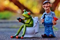 Picture frog, key, plumber, the plunger, figures