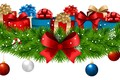 Picture decoration, snowflakes, balls, tree, New Year, gifts, bow, New Year, Happy