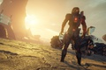 Picture sunset, the main character, Mass Effect Andromeda, extraterrestrial landscape, nomad