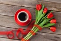 Picture flowers, red, cup, bouquet, gift, Valentine's Day, Cup, coffee, gift, tulips, coffee, romantic, tulips, love, ...