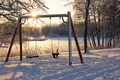 Picture winter, swing, snow, morning