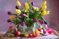 Picture bouquet, tulips, bright, orange, Apple