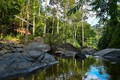 Picture greens, forest, the sun, trees, tropics, stream, stones, Thailand, gazebo, Pala-U Waterfall