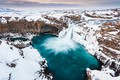 Picture waterfall, rocks, winter, snow, Iceland