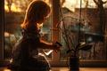 Picture flower, window, girl, watering