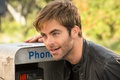 Picture Chris Pine, actor, face, phone, Chris Pine, jacket, male