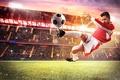 Picture field, grass, light, lawn, jump, football, the ball, athlete, player, uniform, tribune, stadium, floodlight, kick