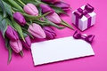 Picture fresh, pink, love, bow, romantic, pink, gift, tulips, tulips, purple, bouquet, flowers