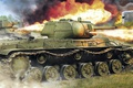 Picture offensive, Soviet heavy flamethrower tank, figure, t-34, KV-8S, dot