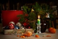 Picture decoration, branches, holiday, box, toys, new year, candle, spruce, beads, vase, tree, bells, tangerines