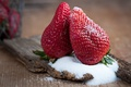 Picture macro, close-up, berries, table, background, two, the sweetness, food, strawberry, sweet, sugar, Board, a couple, ...