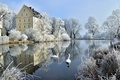 Picture winter, frost, trees, birds, pond, reflection, castle, Germany, Bayern, swans, Germany, Bavaria, Castle Erching, Hallbergmoos, ...