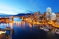 Picture river, Canada, lights, Vancouver, the evening, yachts, boats, lights, Bay, home, piers, mountains, bridge