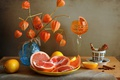 Picture glass, orange, lemon, physalis